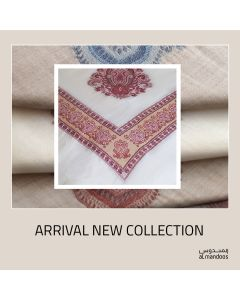 100% Cashmere Shumag  in Off White Color  With Red Embroidery