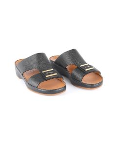 Soft Calfskin Sandals with Plate Rubber and Brushed Gold Buckle