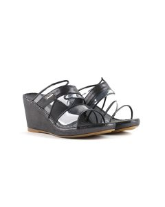 Calfskin in Leather with clear TPU sandal & delicate gold buckle