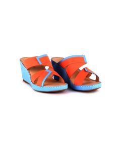 Two-Tone Calfskin Leather Sandals with Dry-stamped Logo