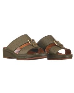 Ostrich-effect Calfskin Leather Sandals with unique Leather Insert Buckle
